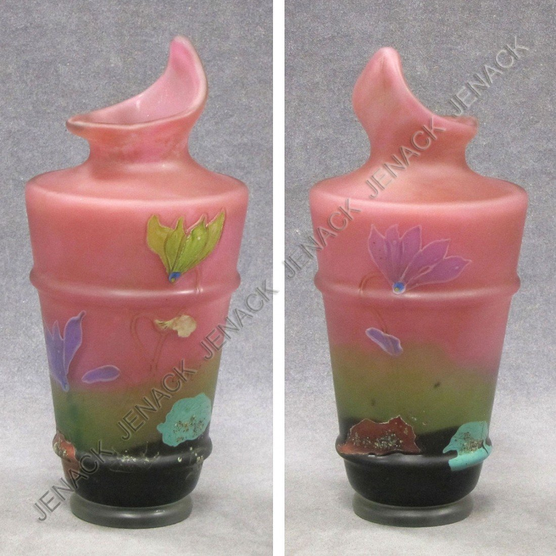 9: FRENCH CARVED AND APPLIED ENAMEL/ART GLASS VASE