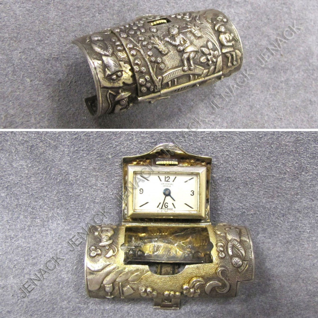 12: UNIVERSAL GENEVE CHINESE SILVER CASED CLIP WATCH