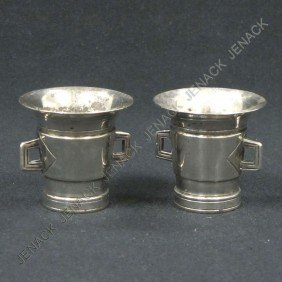 PAIR PESTLE-FORM SILVER (TEST) SALTS, HALLMARKED