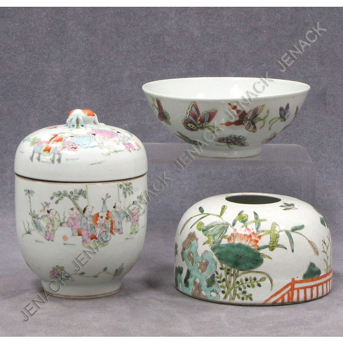 14: LOT (3) CHINESE FAMILLE ROSE DECORATED PORCELAIN