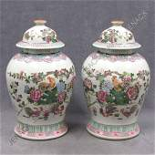 366: PAIR CHINESE FAMILLE ROSE PORCELAIN COVERED JARS