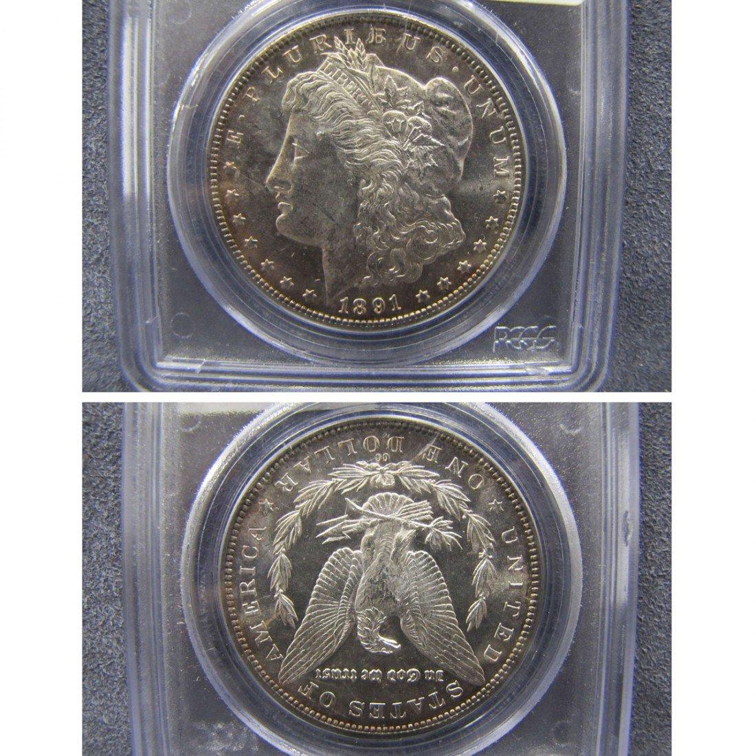 3: 1891 CC MORGAN SILVER DOLLAR, PCGS MS63