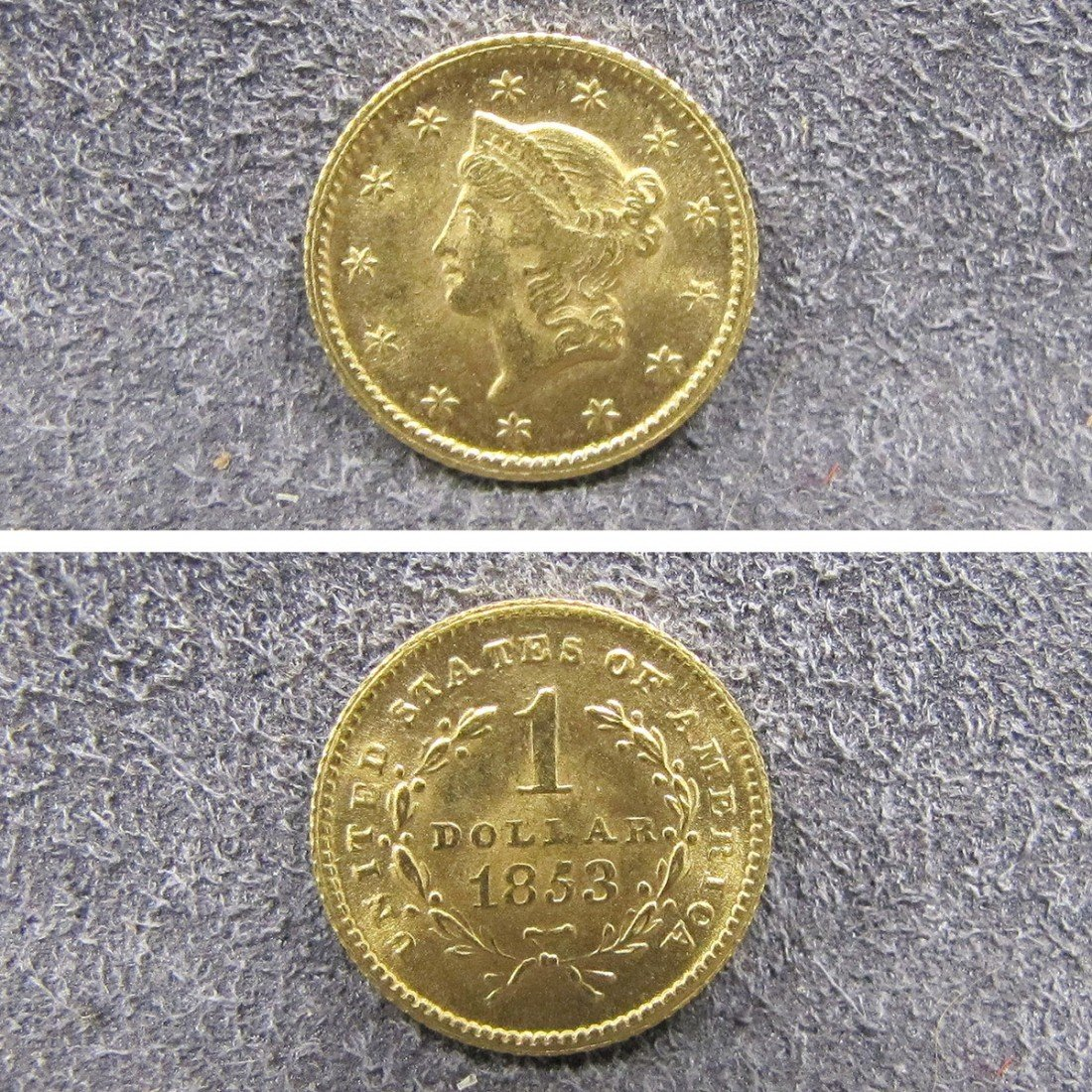 24: US 1853 TYPE 1 GOLD DOLLAR COIN