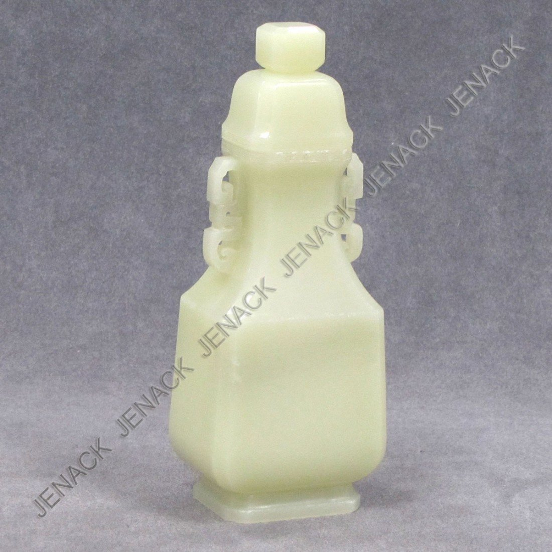 1: CHINESE CARVED JADE COVERED VASE