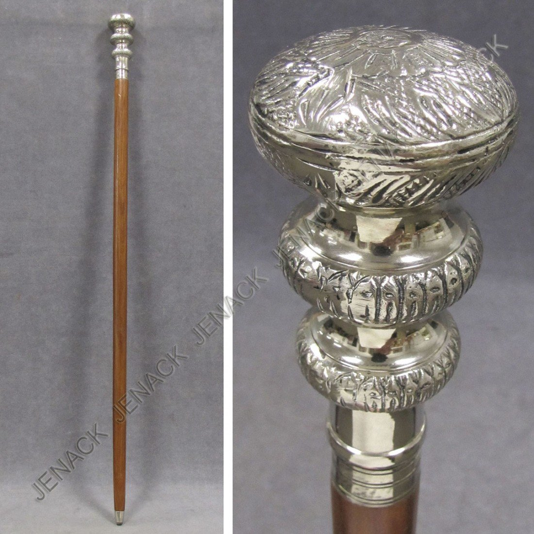6: MAHOGANY WALKING STICK WITH SILVER PLATE CAP