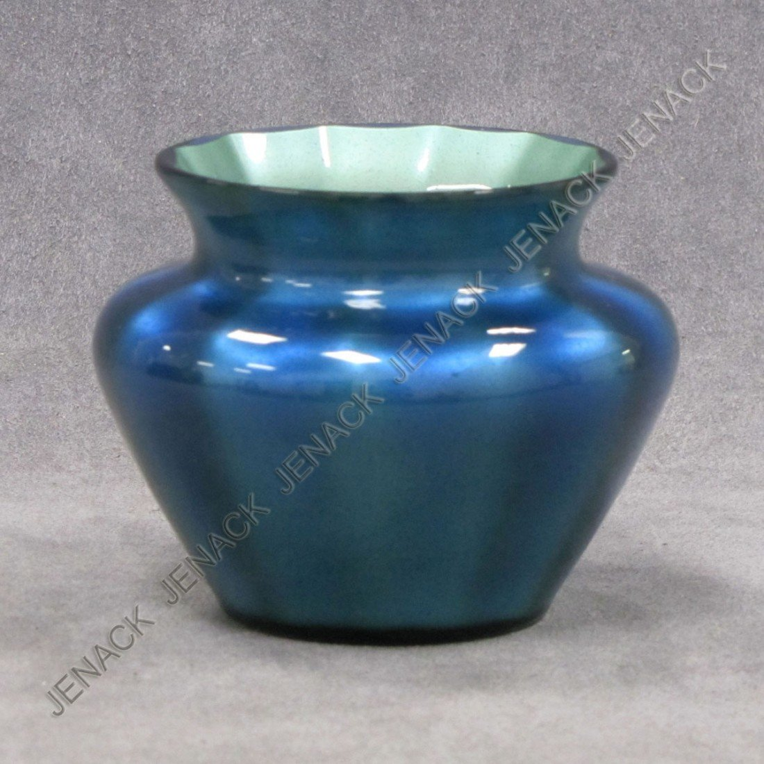 8: ART GLASS IRIDESCENT SQUAT VASE