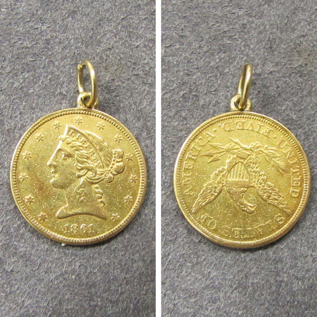 290: U.S. GOLD $5 CORONET HEAD COIN, 1861