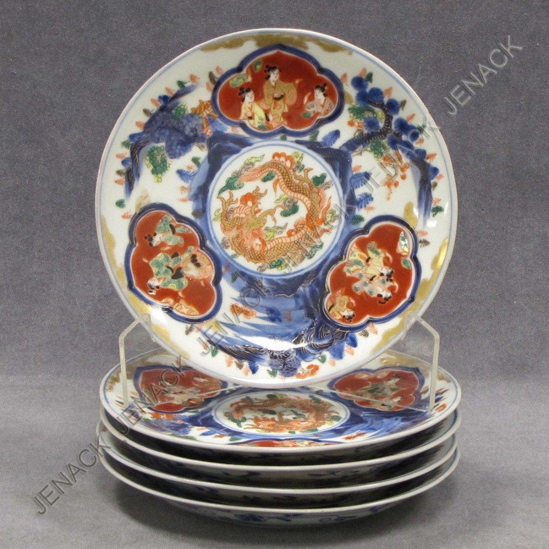 1: LOT (5) JAPANESE IMARI DECORATED PORCELAIN PLATES
