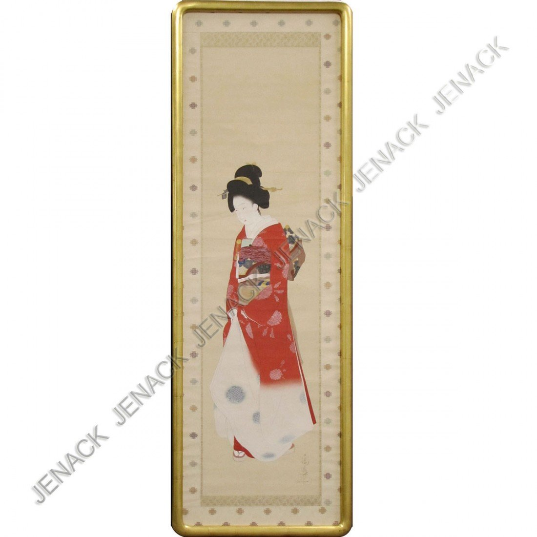 91: JAPANESE WATERCOLOR SCROLL PAINTING, GEISHA, SIGN