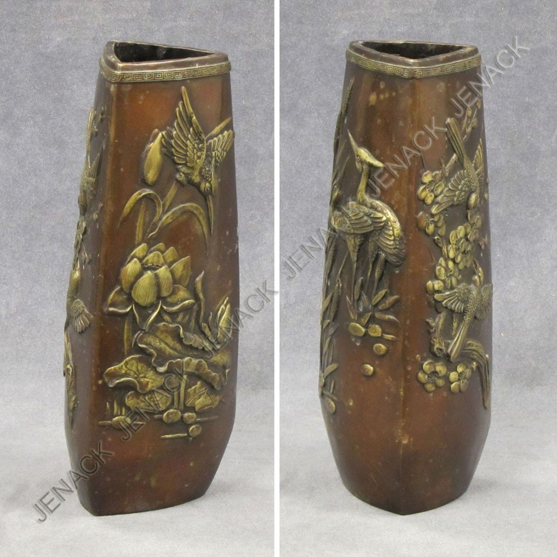 98: JAPANESE GILT BRONZE RELIEF VASE, 19TH CENTURY