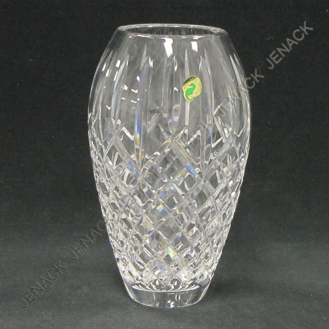 106: WATERFORD CRYSTAL VASE WITH LABEL