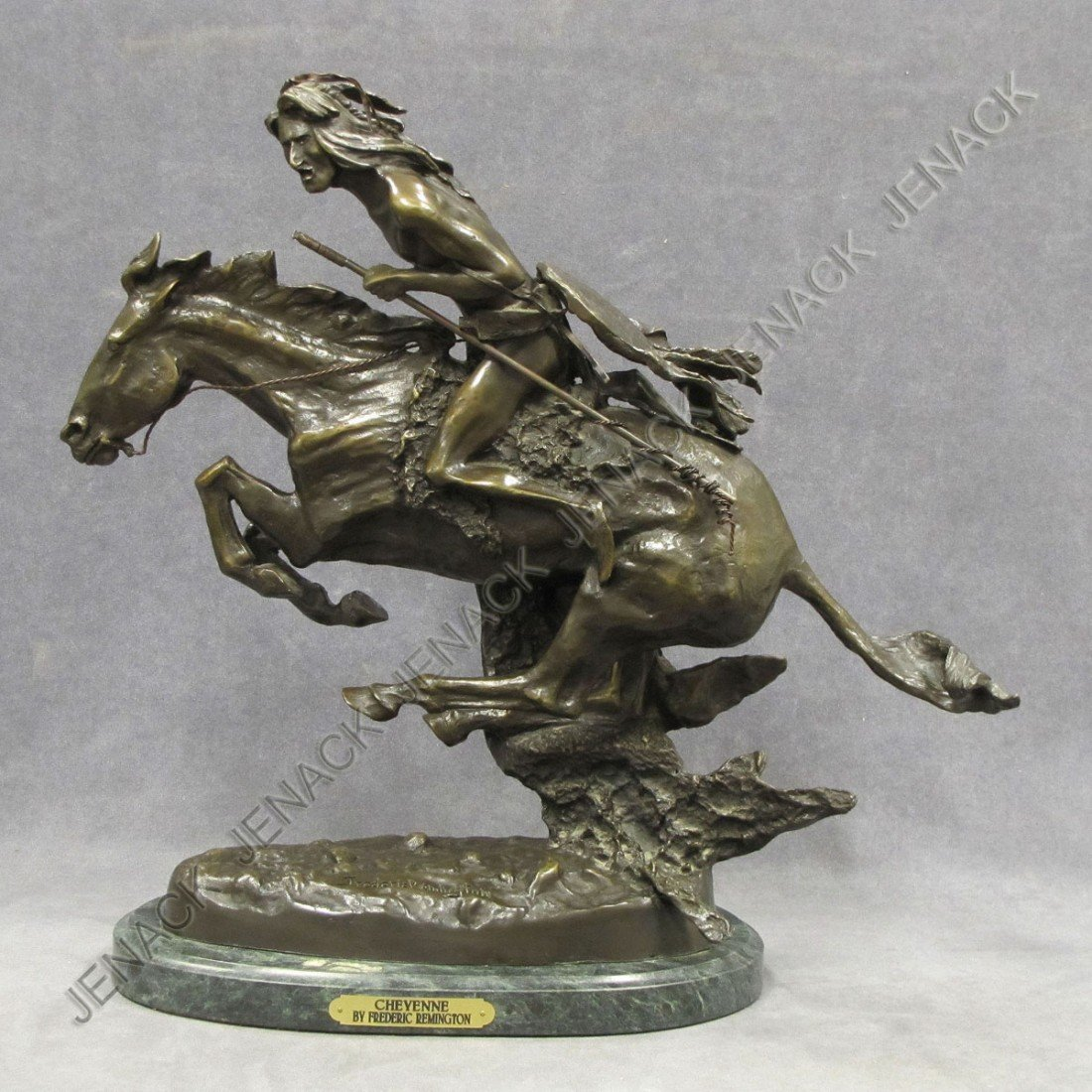 """108: AFTER FREDERIC REMINGTON, BRONZE, """"CHEYENNE"""", SIGN"""