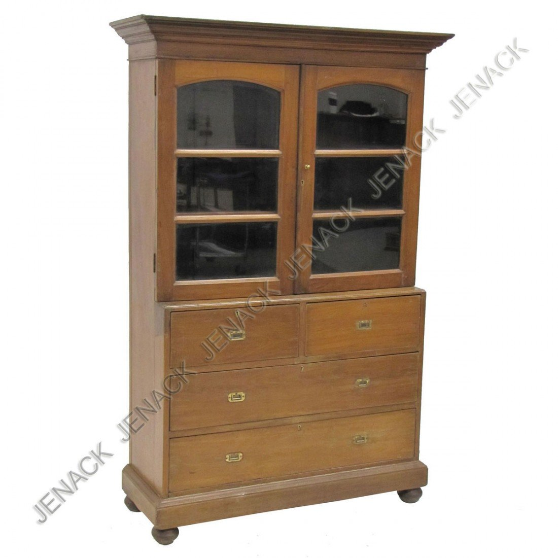 119: ANGLO INDIAN BRASS MOUNTED TEAKWOOD BOOKCASE/CHEST