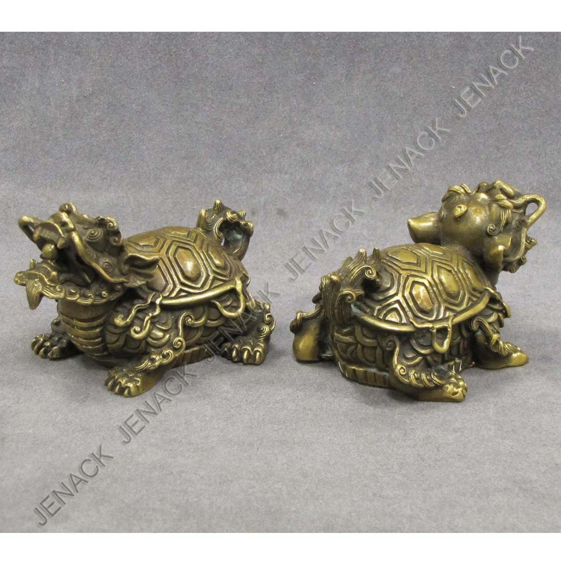 1: PAIR CHINESE BRASS TEMPLE GUARDIANS, SIGNED