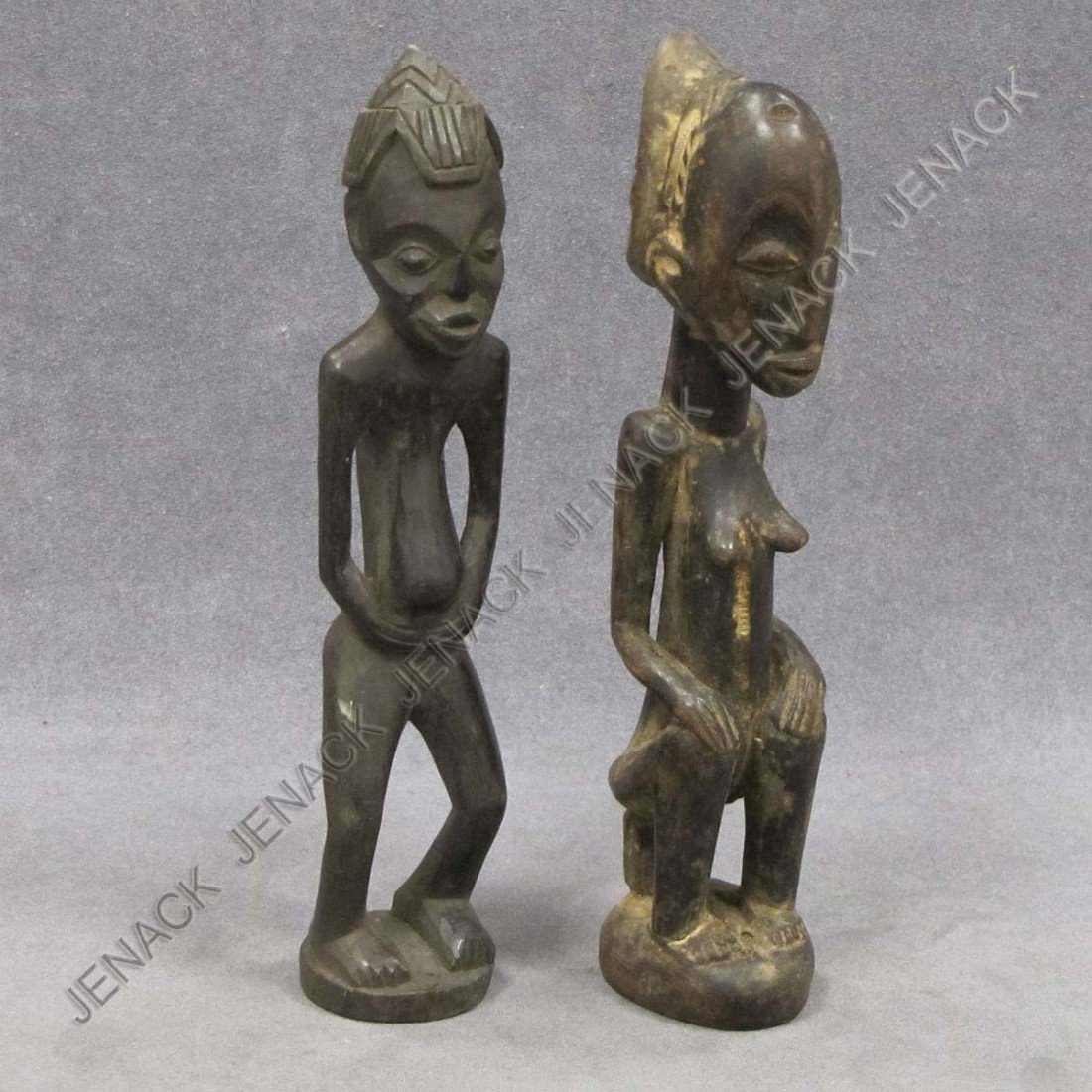 4: LOT (2) SENUFO CARVED WOOD MALE AND FEMALE FIGURES