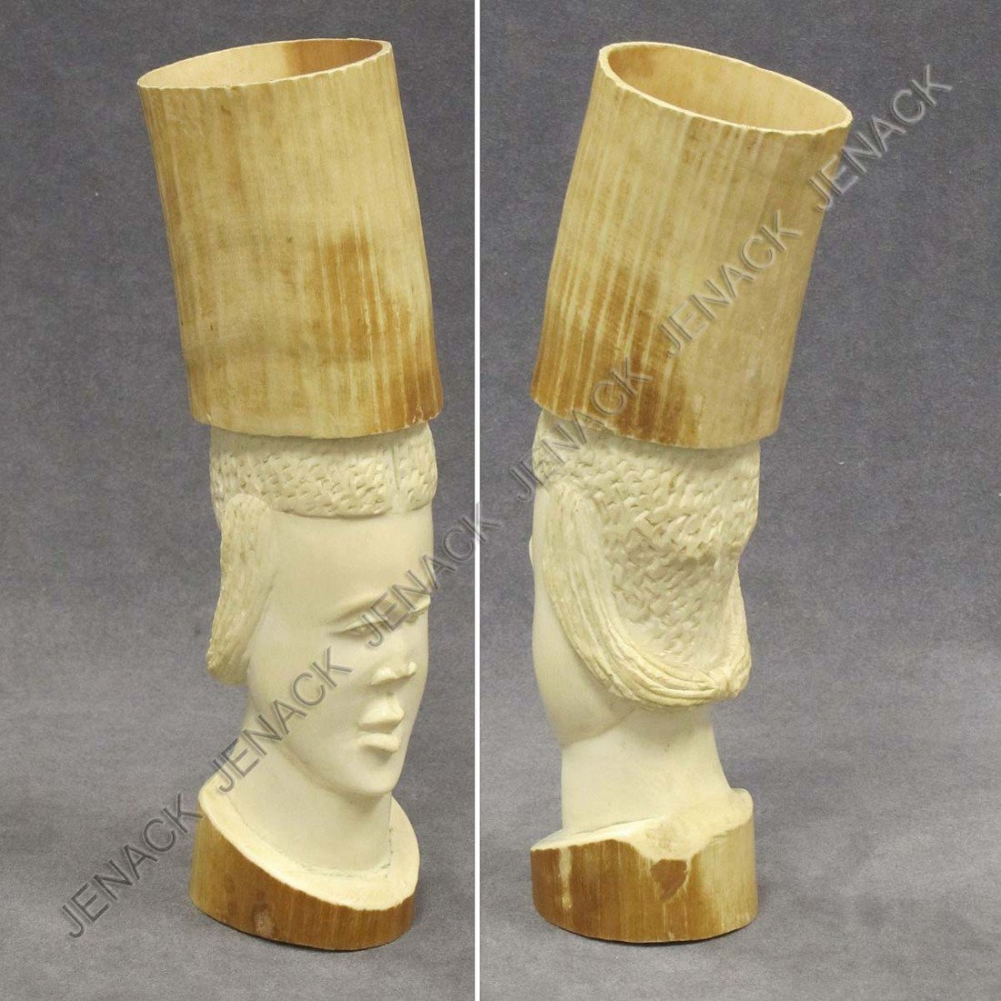 5: VINTAGE AFRICAN CARVED IVORY BUST OF A WOMAN