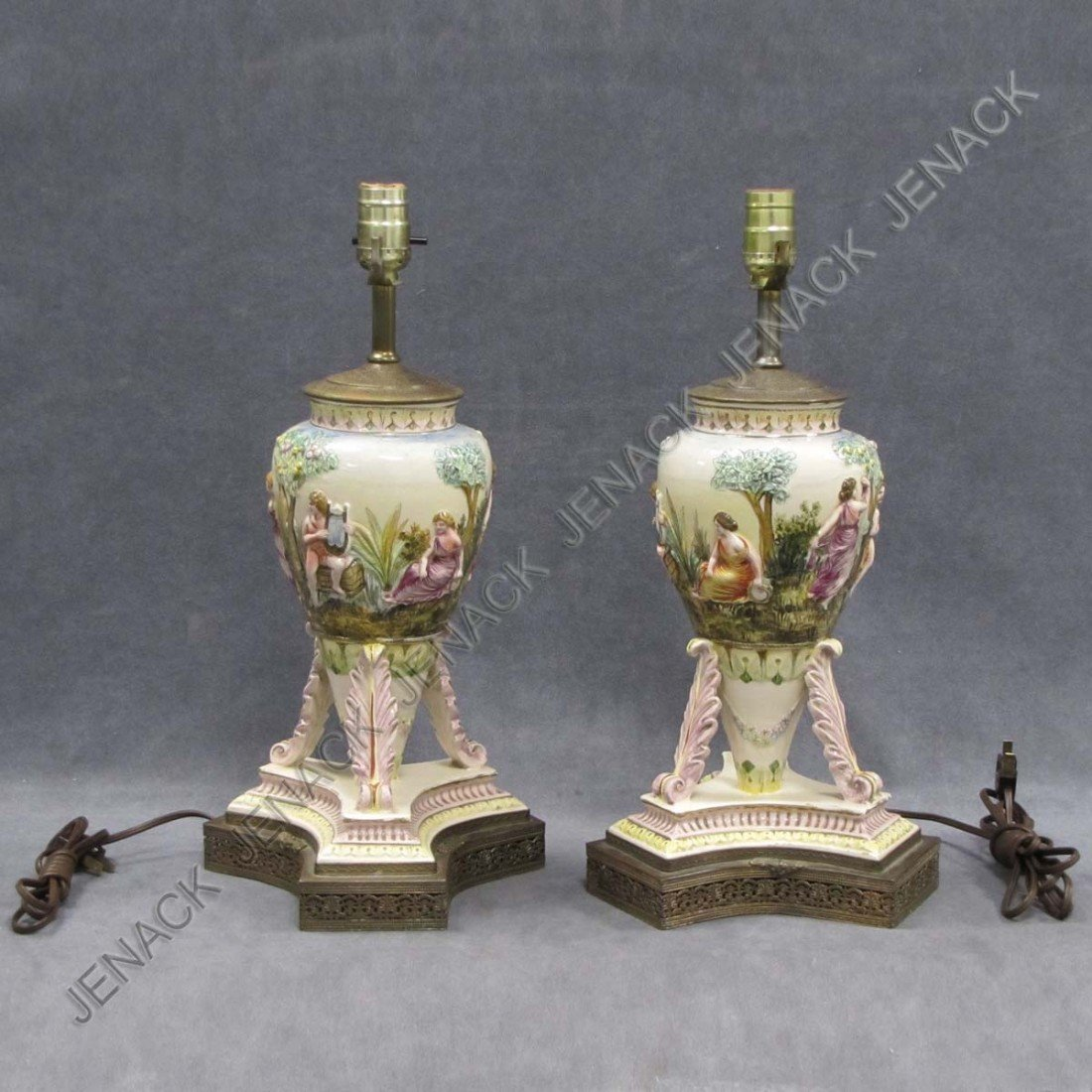 16: PAIR CAPO DI MONTE FAIENCE POTTERY LAMPS