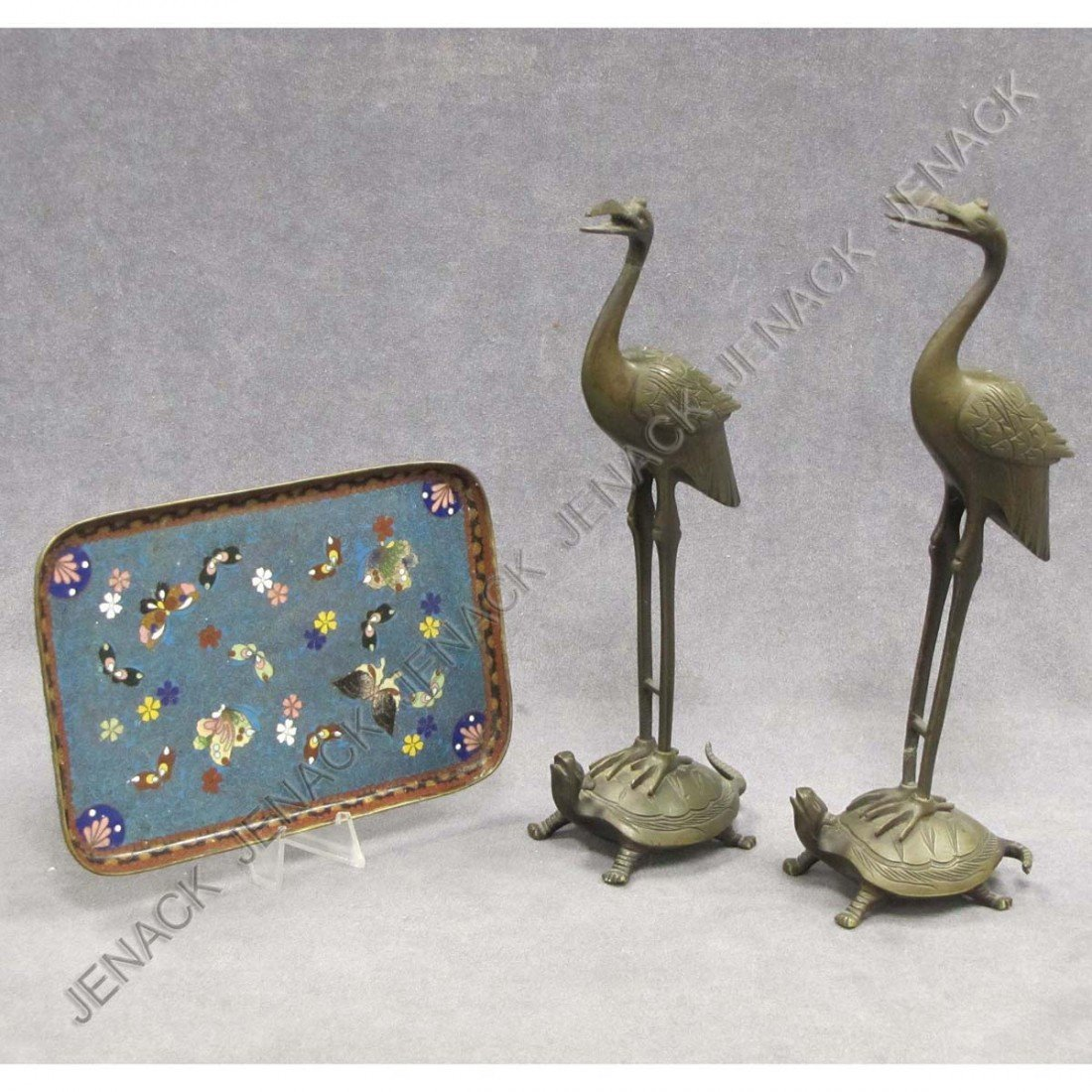 20: LOT (3) CHINESE INCLUDING PAIR BRONZE CRANES