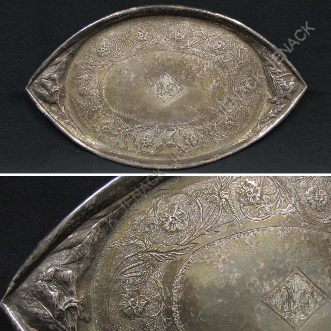 186: ART NOUVEAU HAND HAMMERED REPOUSSE STERLING TRAY