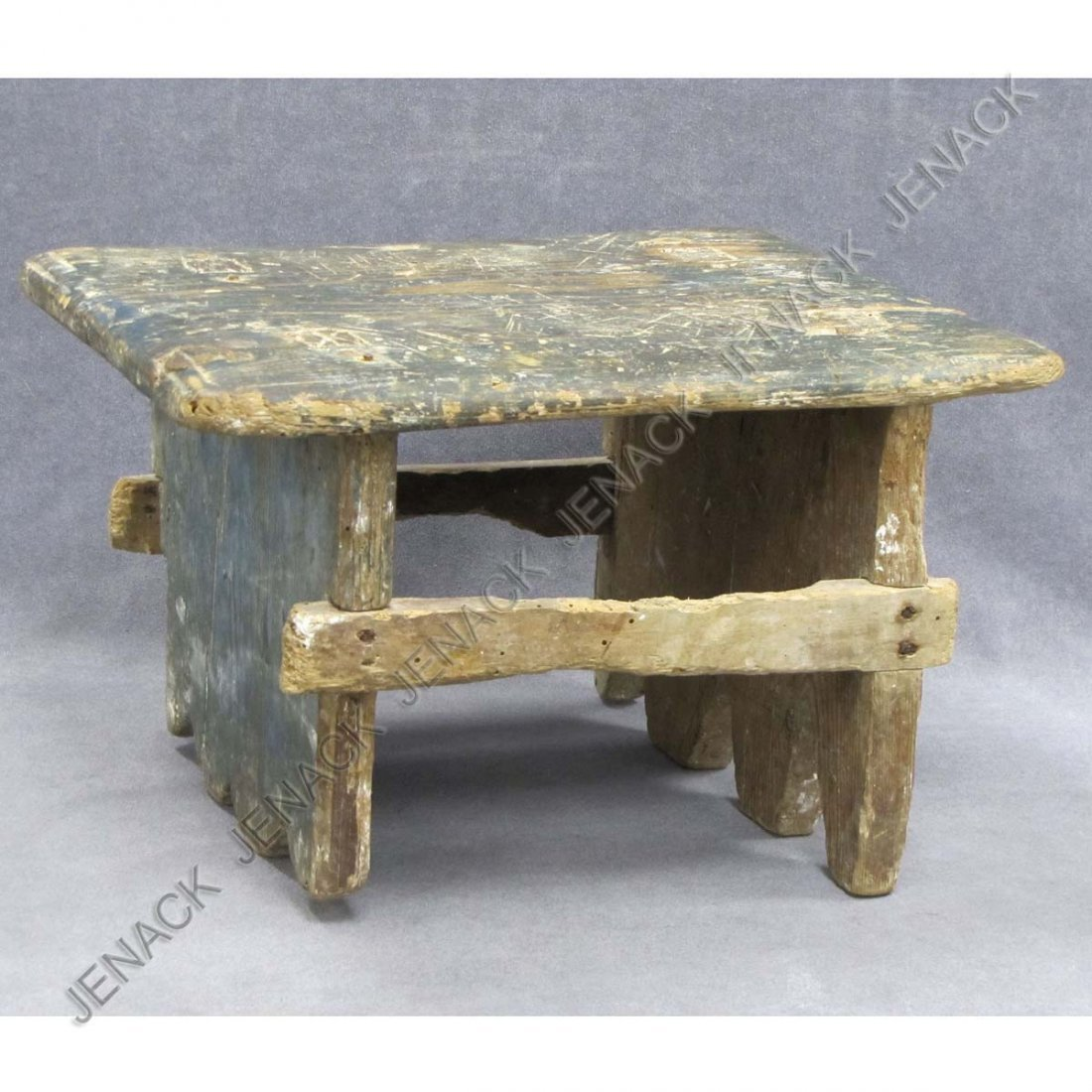 2: EARLY CARVED AND PAINTED WOOD FOOT STOOL