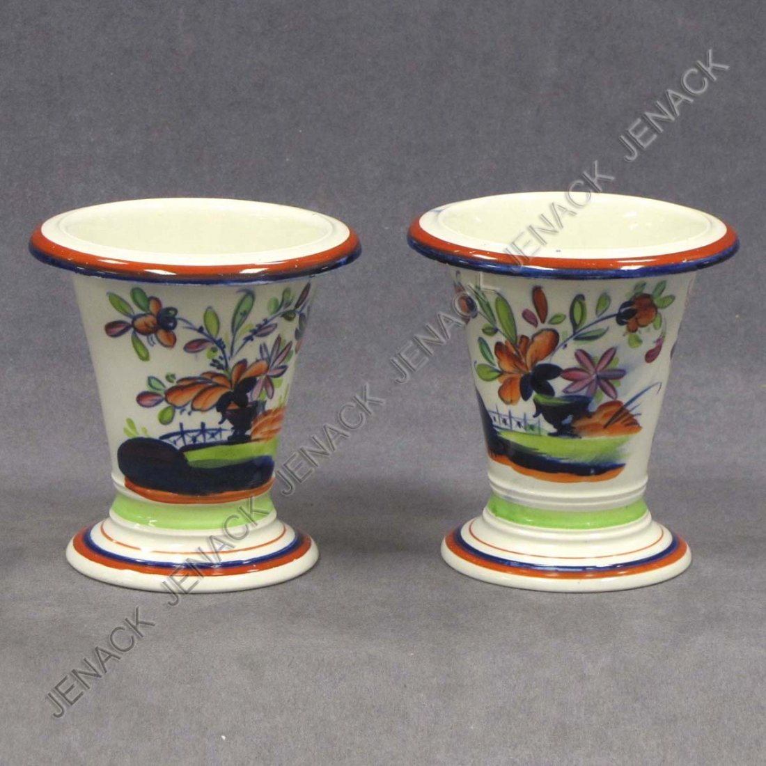 10: PAIR GRIFFITH'S GAUDY WELSH CONICAL VASES