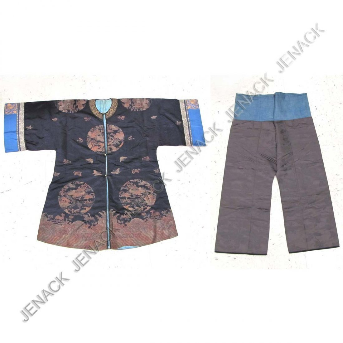 11: VINTAGE CHINESE EMBROIDERED SILK JACKET AND PANTS