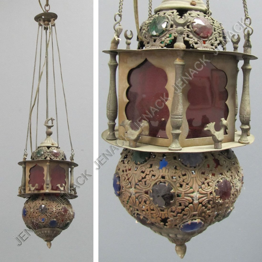 7: MOROCCAN JEWELED COPPER AND BRASS HANGING LIGHT