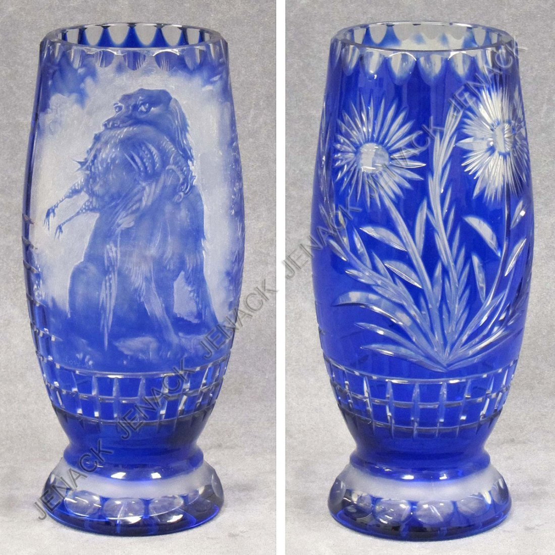 18: BOHEMIAN COBALT CUT TO CLEAR GLASS VASE