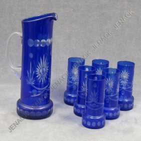 LOT (7) BOHEMIAN COBALT CUT TO CLEAR GLASS
