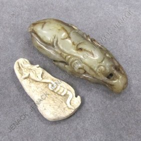 LOT (2) CHINESE JADE AND CHICKEN BONE GOURD FORM