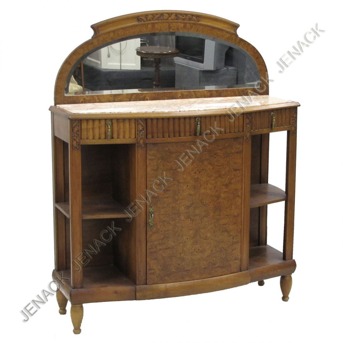 123: FRENCH ART DECO BURL WALNUT AND MARBLE BUFFET