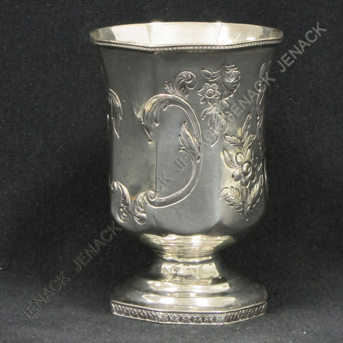 170: SEYMOUR HOYT SILVER FOOTED ENGRAVED CUP, C.1840