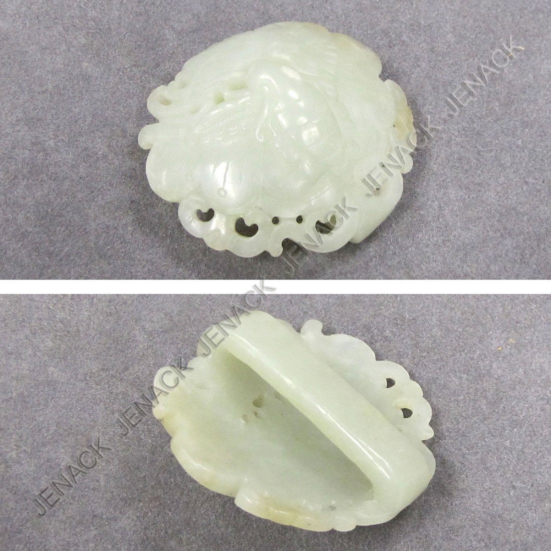 185: CHINESE CARVED WHITE JADE BUTTERFLY BELT BUCKLE