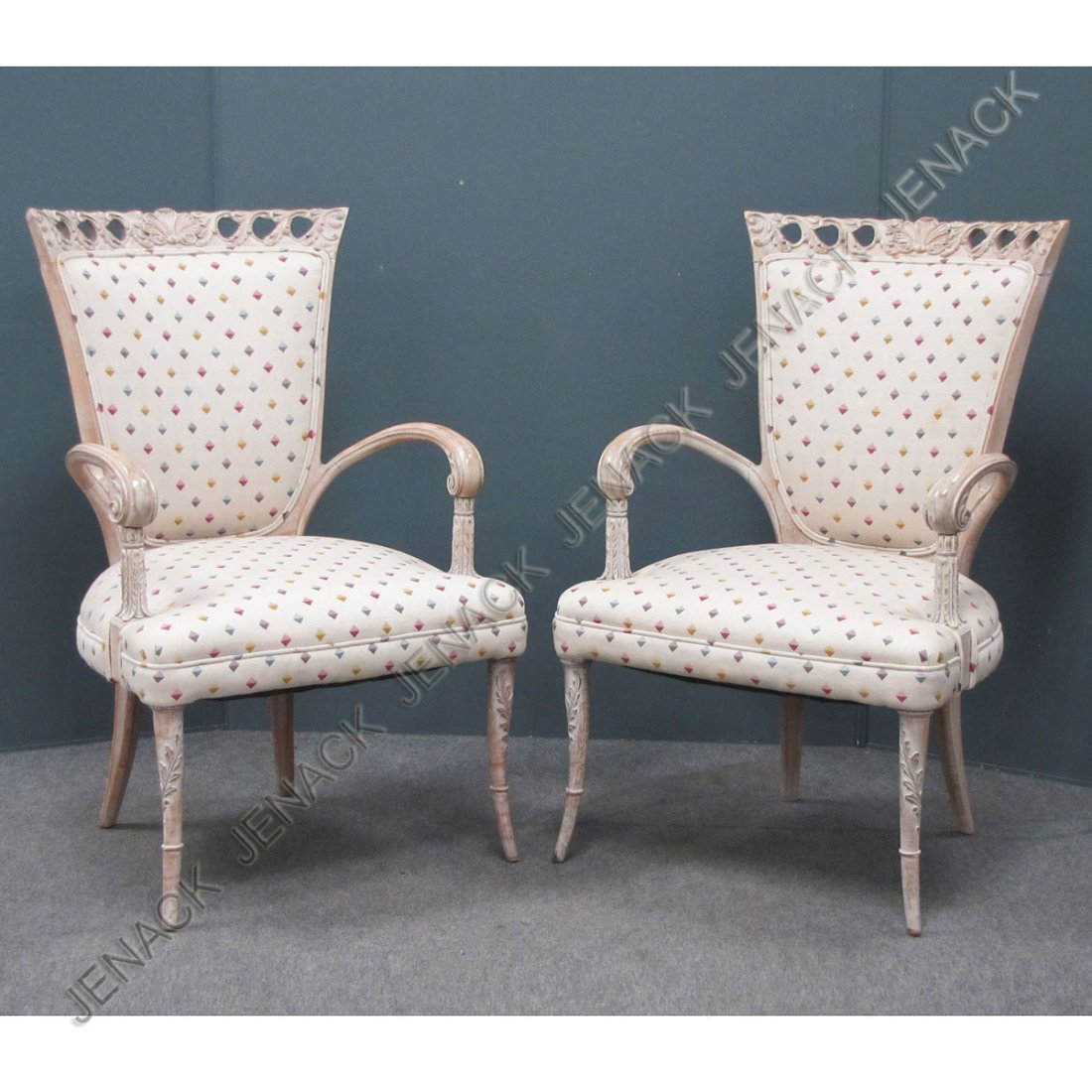 188: PAIR FRENCH STYLE CARVED AND LIMED ARMCHAIRS