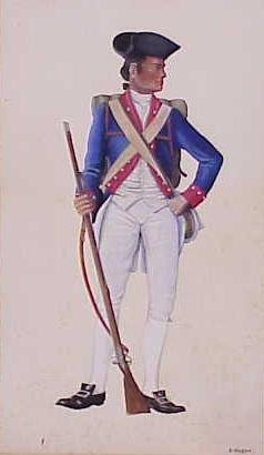 34: GOUACHE, REVOLUTIONARY WAR SOLDIER, SIGN HUGHES