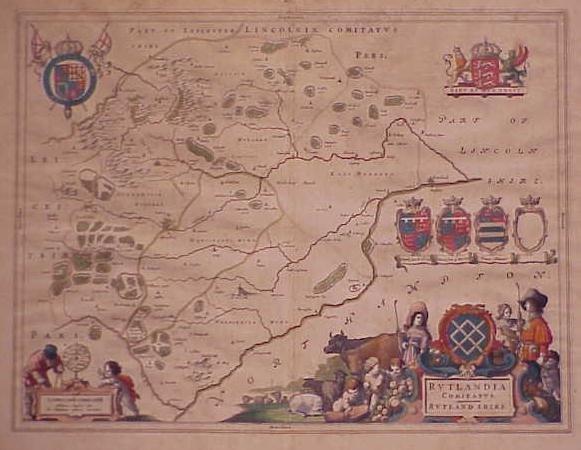 48: HANDCOLORED ENGRAVED MAP, RUTLANDSHIRE