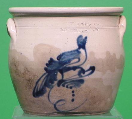5: STONEWARE 2-GALLON CROCK WITH COBALT BIRD
