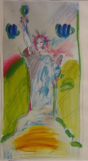 "8: MIXED MEDIUM/PAPER, ""STATUE OF LIBERTY"", SIGN MAX"