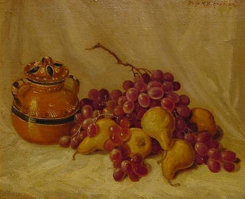 "12: OIL ON MASONITE, ""PEARS AND GRAPES"", HUGO"