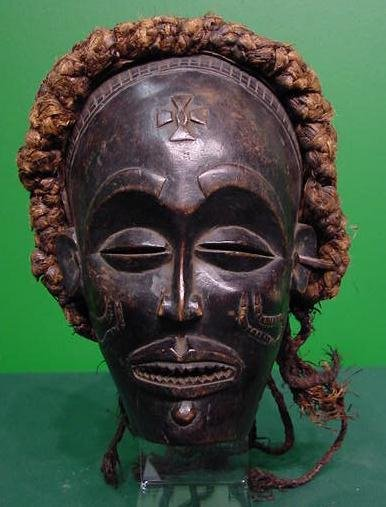 14: CHOKWE CARVED MASK WITH RAFFIA HEADDRES