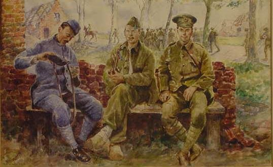 20: WATERCOLOR, THREE WWI SOLDIERS, GILBERT