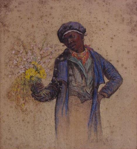 36: PASTEL, YOUNG AFRICAN AMERICAN WOMAN WITH BOUQUET
