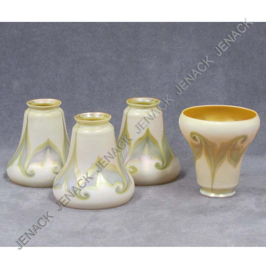 5: SET (4) QUEZEL BELL SHAPE ART GLASS SHADES, SIGNED