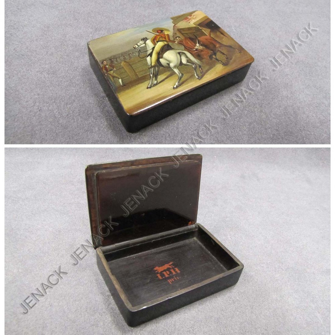 9: EARLY LACQUERED SNUFF BOX, SIGNED I.P.H. PRIV