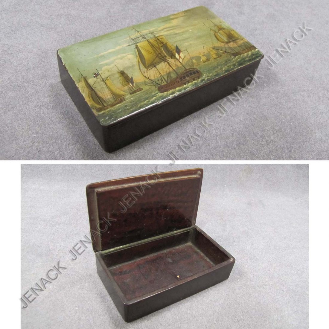 10: EARLY LACQUERED SNUFF BOX, SHIPS AT SEA, C.1840