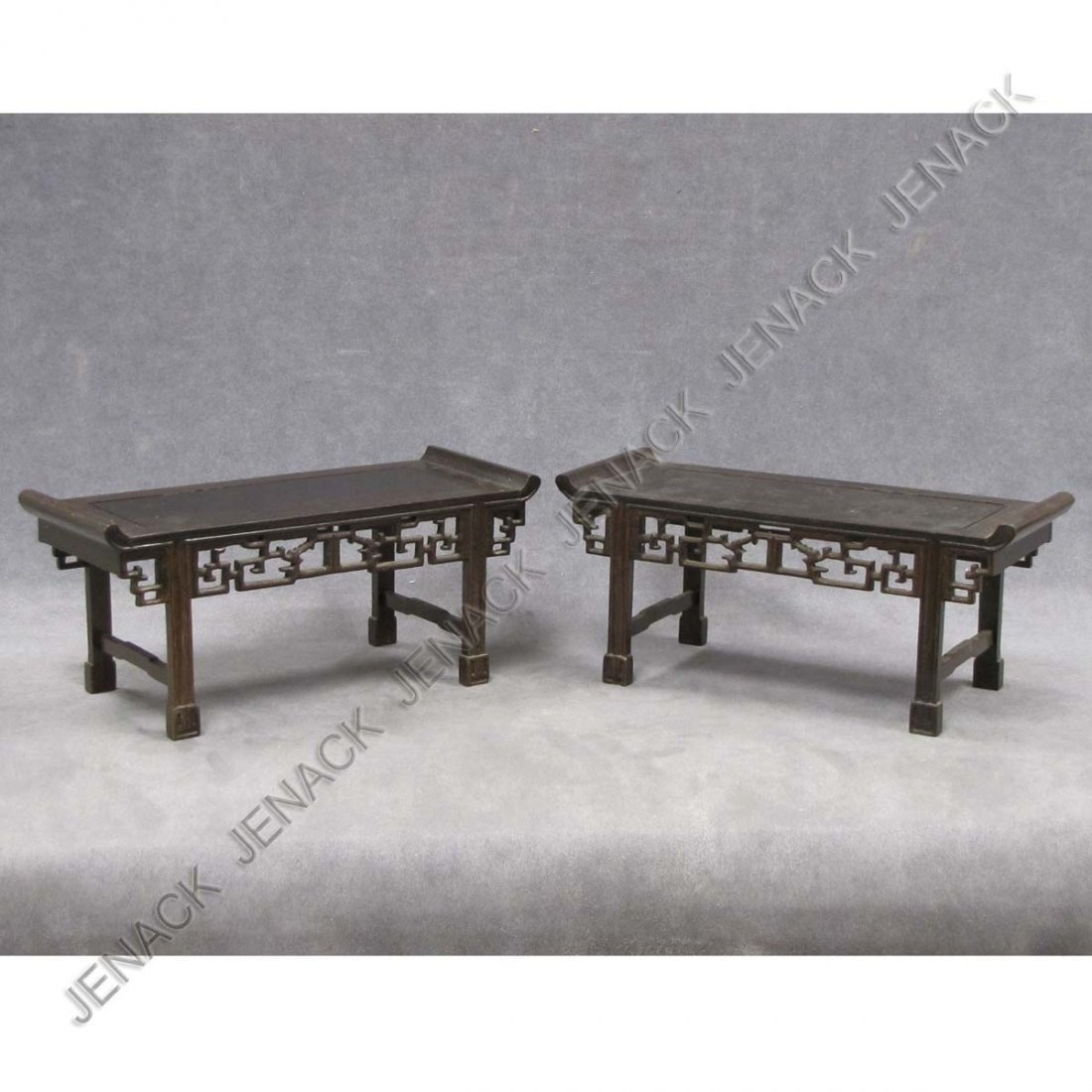 13: PAIR CHINESE CARVED HARDWOOD MINIATURE ALTER TABLE
