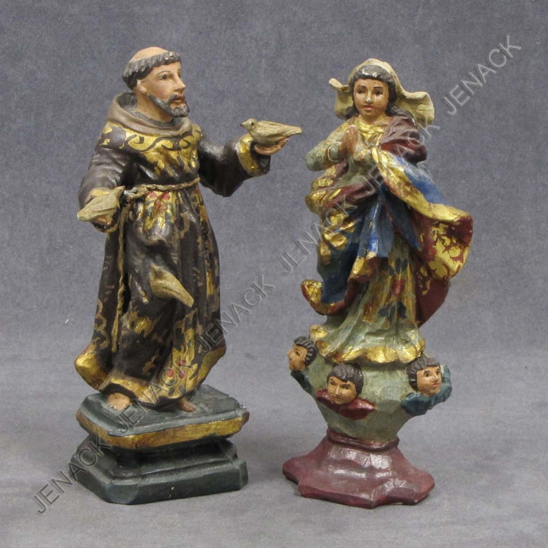 20: LOT (2) SPANISH COLONIAL CARVED AND PAINTED SANTOS