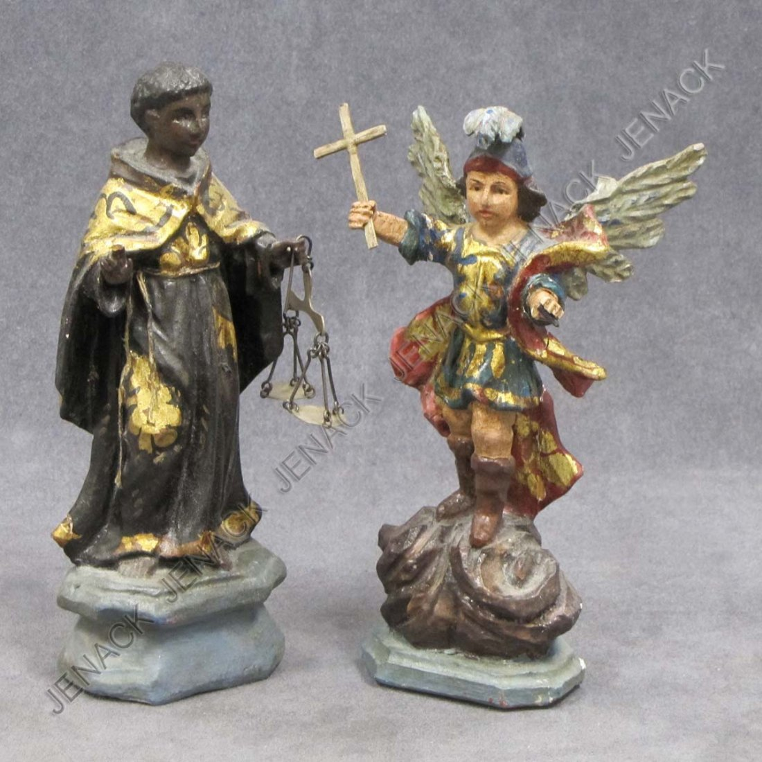 22: LOT (2) SPANISH COLONIAL CARVED AND PAINTED SANTOS