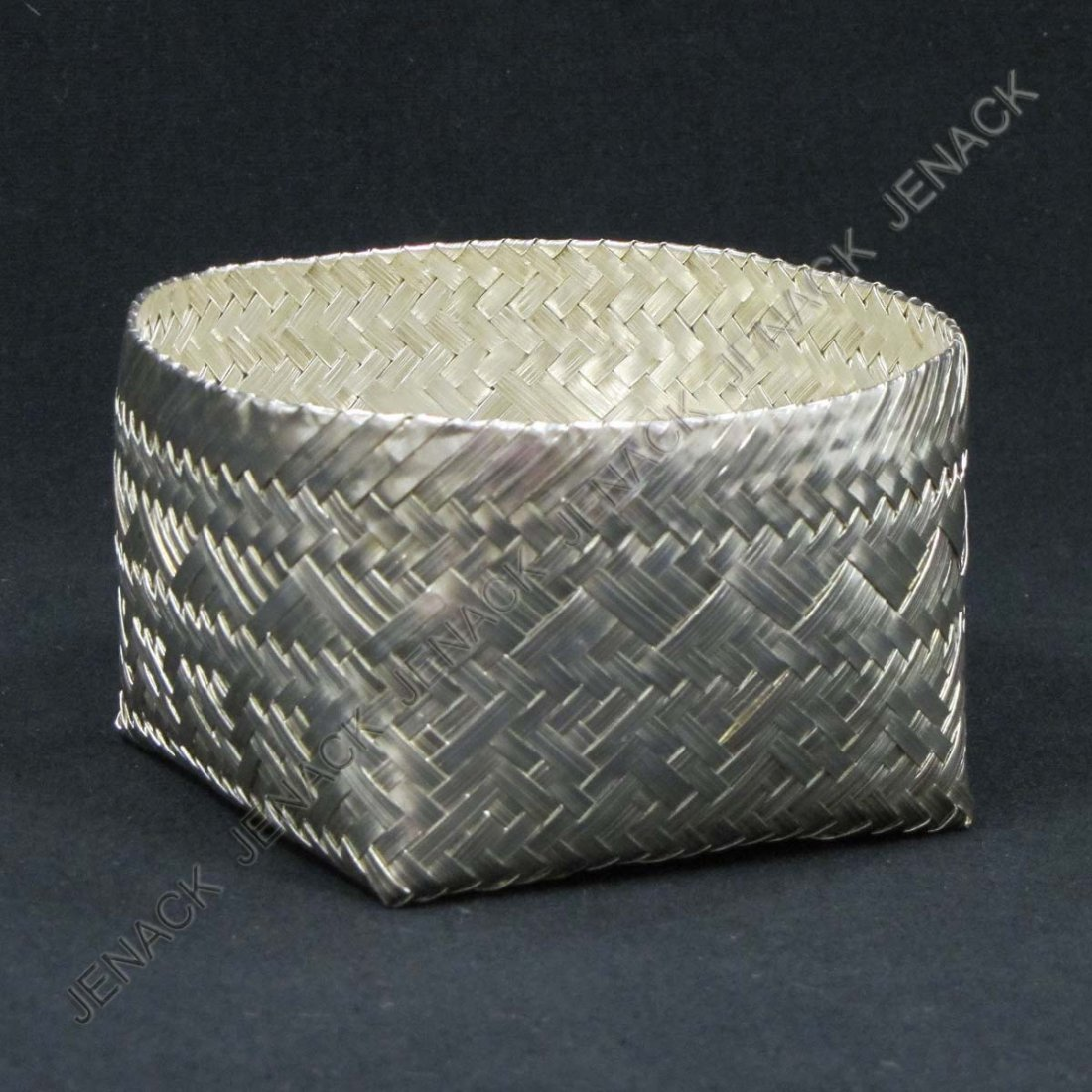 377: MEXICAN 925 STERLING WOVEN BASKET