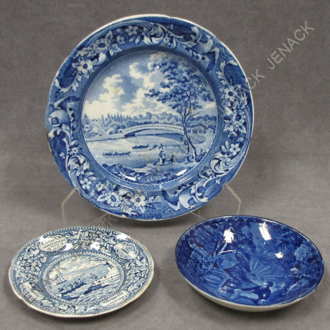 2: LOT (3) ENOCH WOOD HISTORICAL BLUE STAFFORDSHIRE
